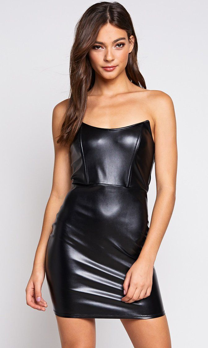 21453337be74 It's Tricky Black PU Faux Leather Strapless Bodycon Mini Dress – Indie XO