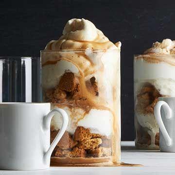 Affogato Trifles: biscotti, ice cream, whipped cream