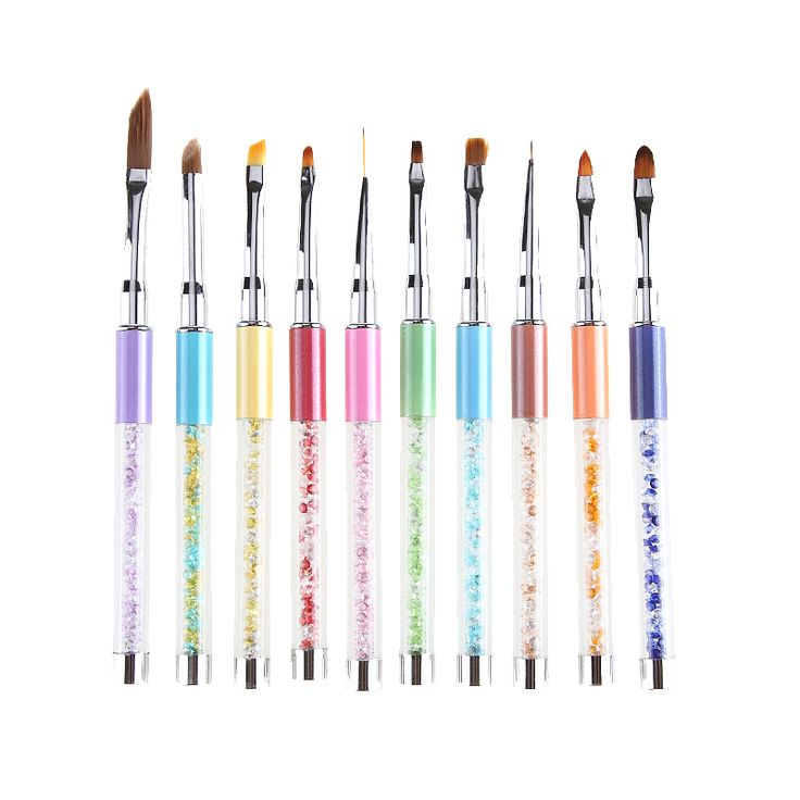 10 Way Nail Art Brush Metal Rhinestone Handle For Gel Polish Tips Extender Painting Carving Polishing 3D Decor Pro Manicure Pen
