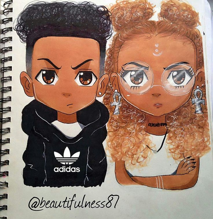 African American Cartoon Couple Drawings