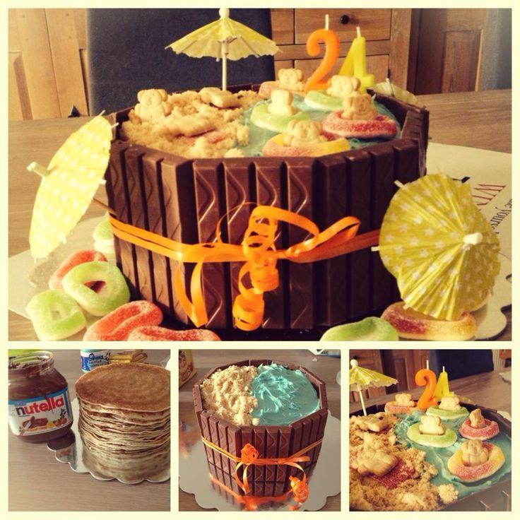 Verjaardagstaart met pannenkoeken en nutealla!