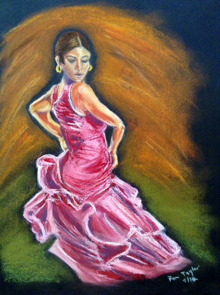 Flamenco dancer in pastel
