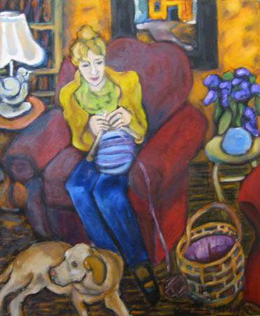 Woman Knitting Painting Reed lehman