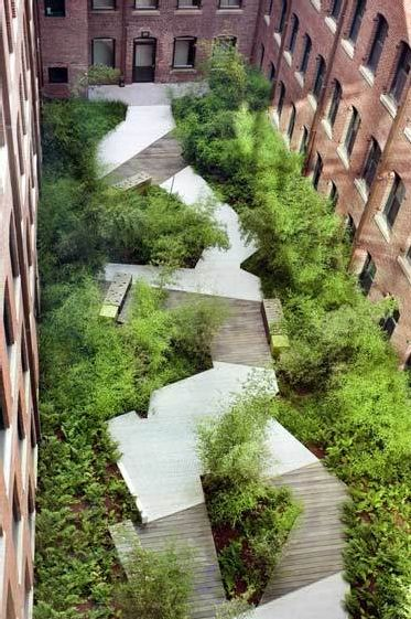 Court square press courtyard in Boston is a well designed small green space in a post industrial area that was able to create moments of privacy along the path through the space. The use of views, texture, and illusion give this space some of its best qualities