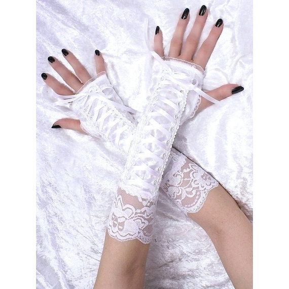 white lace gloves bridal fingerless gloves by FashionForWomen