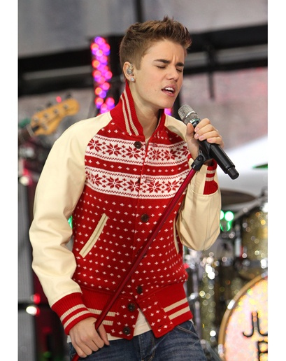Justin Bieber....  Only I could pull off the ugly sweater jacket better.  Sigh.  you still look very nice and festive.