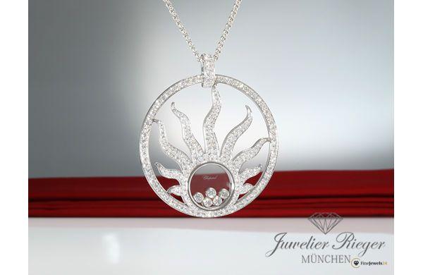 CHOPARD COLLIER HAPPY DIAMONDS SUN WEISSGOLD 750 DIAMANTEN, necklace, pendant