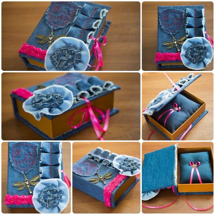 Denim wedding, джинсовая свадьба, коробочка для колец, для дисков, бронзовая фурнитура