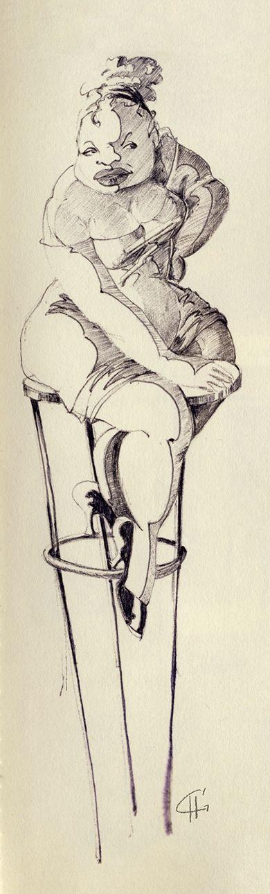 Ballpoint illustratie uit Dummy 3. By Hilda Groenesteyn / studio Hille
