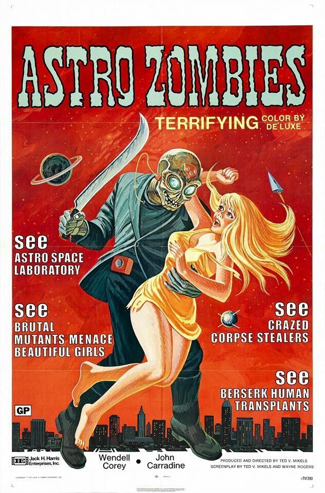 "Movie poster for Ted Mikel's ""Astro Zombies"" (1968)."