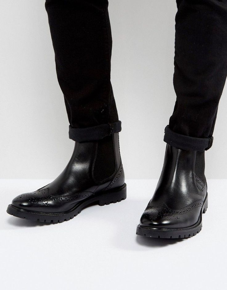 Get this Base London's cowboy boots now! Click for more details. Worldwide shipping. Base London Bosworth Leather Brogue Chelsea Boots In Black - Black: Boots by Base London, Leather upper, Elasticated inserts, Brogue detailing, Slim toe, Twin pull tabs, Cleated tread, Treat with a leather protector, 100% Real Leather Upper. Founded in 1995, Base London was created to fill a noticeable gap in the market for men's design-led, high quality formal footwear at a reasonable price. Quickly…