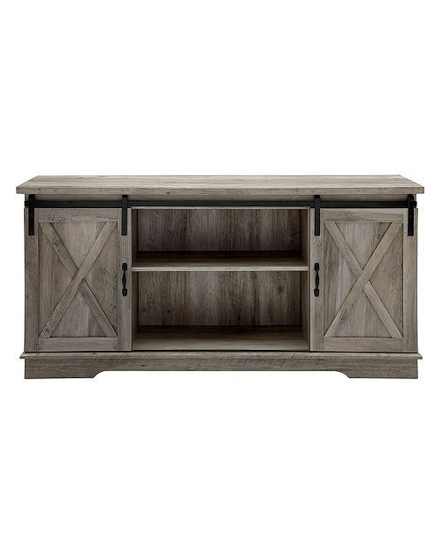 58 Farmhouse Tv Stand With Sliding Barn Doors Gray Wash Gray In 2019 Living Room Barn Door Tv Console Barn Door Tv Stand Barn Door Console