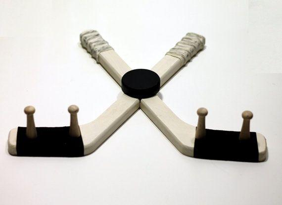 Hockey Stick Medal Hanger White Finish with Puck by HockeyMarket, $24.50