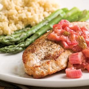Turkey Cutlets with Rhubarb Chutney.Try rhubarb in this tangy chutney with golden raisins and fresh ginger, served with turkey. You can also pair the sauce with grilled boneless, skinless chicken breasts or lean pork chops. Serve with: Whole-wheat couscous and steamed asparagus.