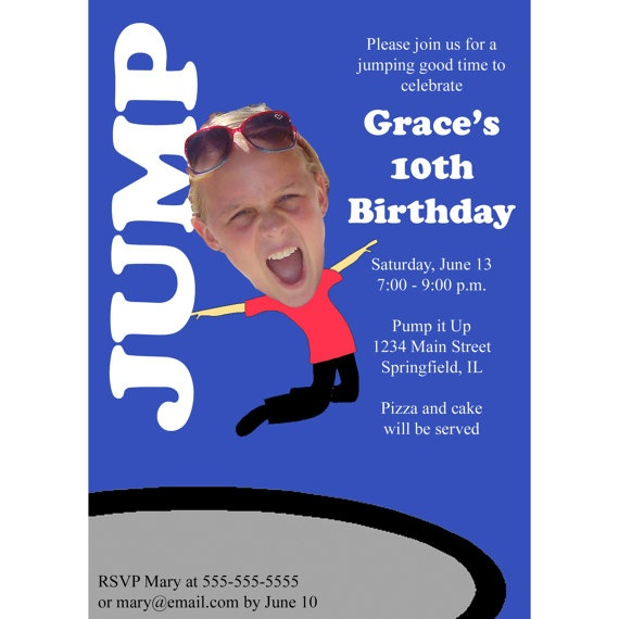 Trampoline or Bounce House Birthday Party Invitation - Custom Photo - Fun, Unique, Printable