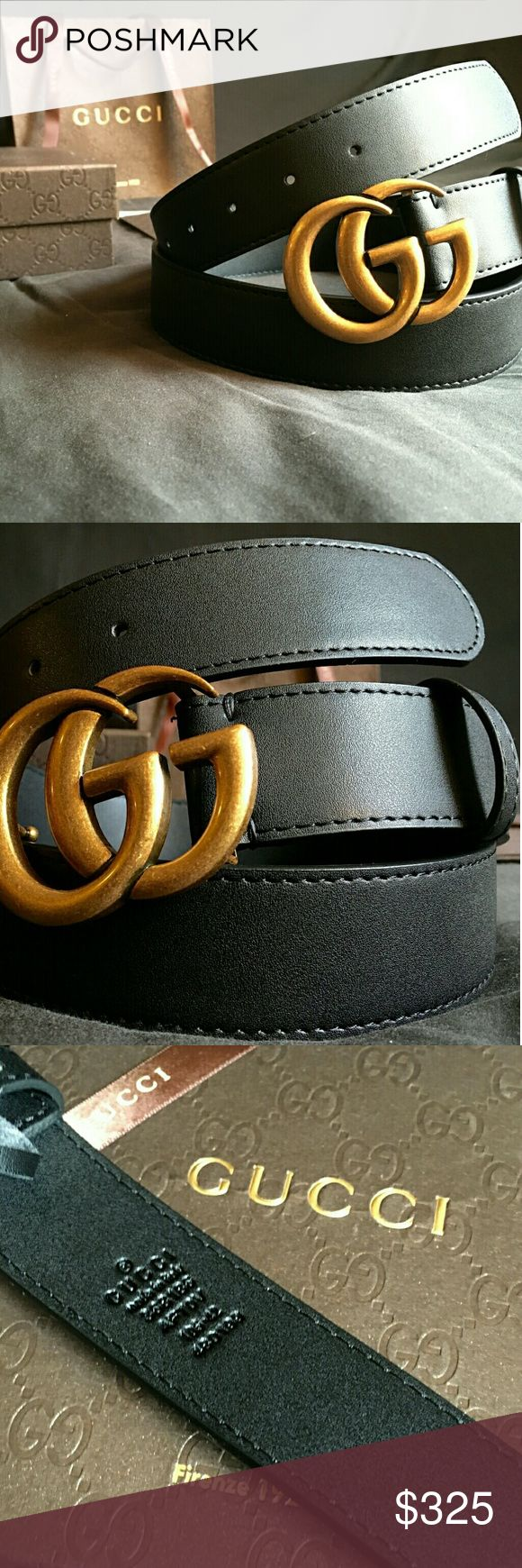 Gucci Double G Belt!!! Gucci Belt W/ Antique Brass Double G Buckle!!!  Brand New!!!  Unisex....For Man Or Woman!!!  Size Available - 32, 34, 36, 38, 40, 42!!!  Includes Gucci Belt, Gift Box, Dust Bag, Ribbon, Etc!!!  Great Gift Idea!!!  Last Available!!!  Check My Listings For Other Great Items!!!             Ignore: Gucci gg monogram casual dress belts men's women's guccissma leather monogram web tiger bee embossed panther wool cable knit blooms supreme print angry cat ufo dragon studded…