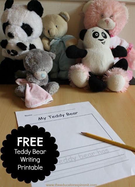 Very Cute Teddy Bear Writing Activity for Kids
