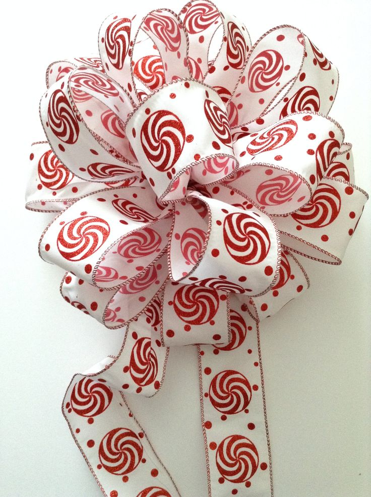 Christmas Tree Topper / Peppermint Tree Topper / Red and White Xmas Tree Topper / Candy Xmas Theme Fluffy Bow / Handmade Design Wired Ribbon by CraftsbyBeba on Etsy