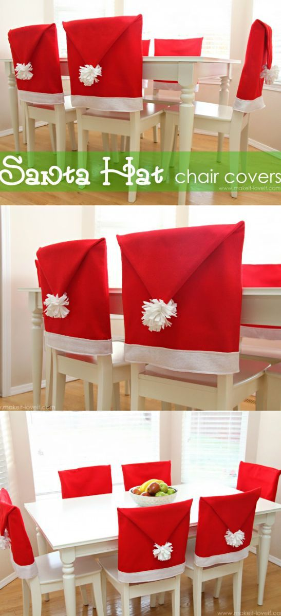 Holiday ● DIY ● Tutorial ● Santa hat chair covers. These would be great made with tassels hanging instead of pompom to be for other special occasions and party decor.