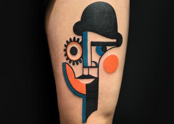 #mikeboyd @tattrx #tattrx #tattoos #abstracttattoos #picasso #orangeclockwork #tattooart #scene360 #cubism