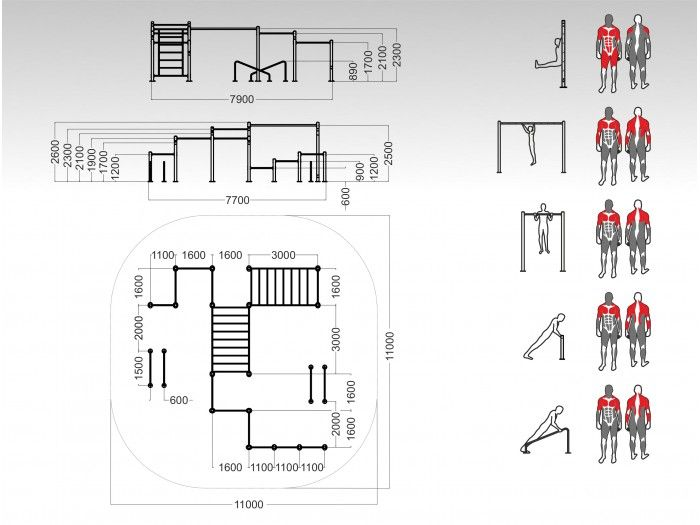Street workout park dimensions