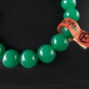 vintage japanese chrysoprase green translucent rounds 10mm pkg of 6 b11gr glass beads