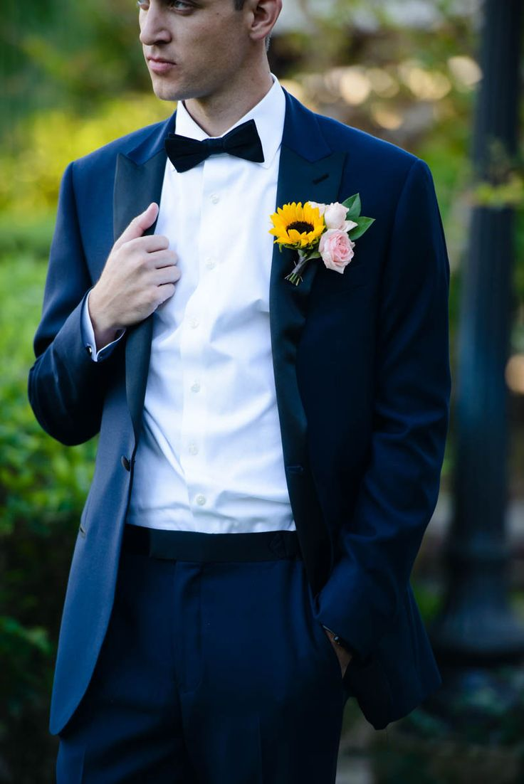 Sunflower Boutonniere by Flowers OMG - Travel Inspired Wedding at Estate on the Halifax - Central Florida Wedding -Photo: Sivan Photography -Orange Blossom Bride - Click pin for more - www.orangeblossombride.com