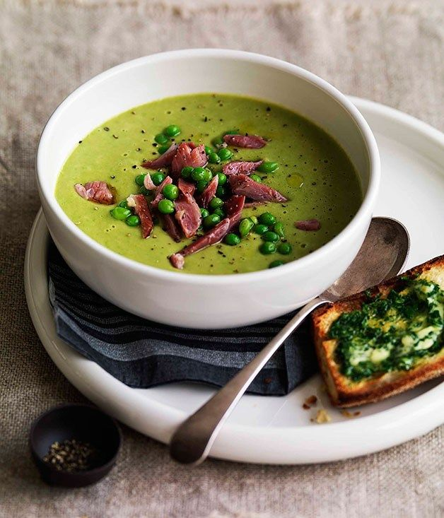 Pea and ham soup   Gourmet Traveller
