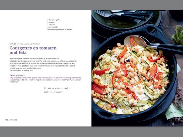 Courgettes en tomaten met feta. Recept Pascale Naessens