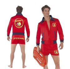 Official Mens Baywatch Fancy Dress Outfit Lifeguard Costume Stag 90s Party