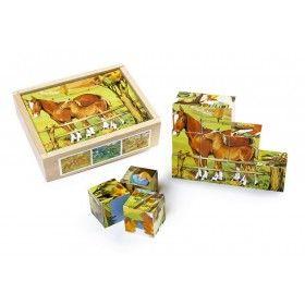 Hračka na tréning jemnej motoriky, logiky, citu pre farbu a tvar. Puzzle s peknými motívmi života zvierat na vidieku je vyrobené z kvalitnej lesklej preglejky s rámom.  Kocky sú uložené v drevenej krabici s odsuvným krytom a 6-timi námetmi na skladanie kociek.