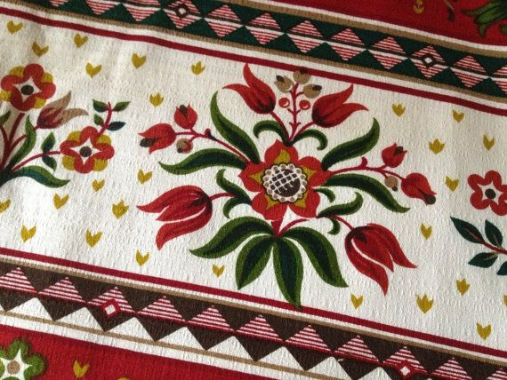 German Folk Art Textiles Mid Century Cabin by JansVintageStuff