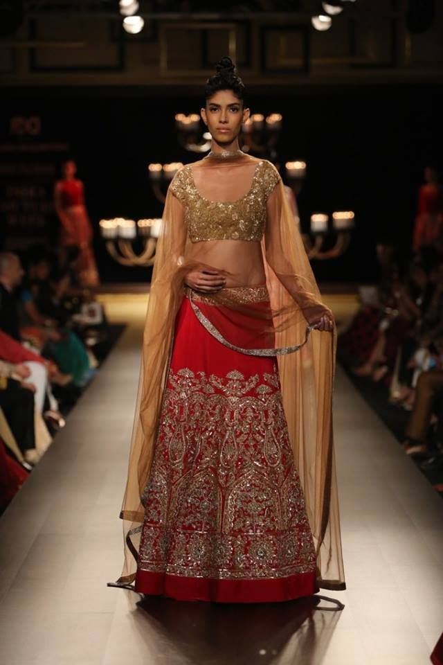 Manish Malhotra at India Couture Week 2014 - red lehnga with gold sequin blouse