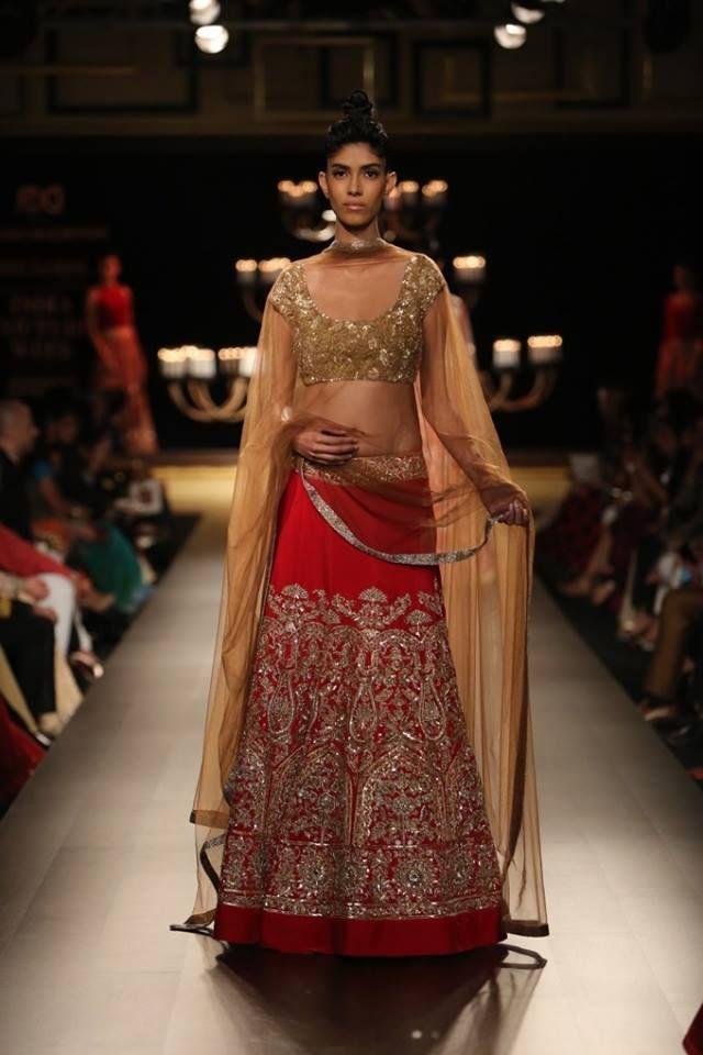 Manish Malhotra at India Couture Week 2014 - red lehnga with gold sequin blouse #lehenga #choli #indian #hp #shaadi #bridal #fashion #style #desi #designer #blouse #wedding #gorgeous #beautiful