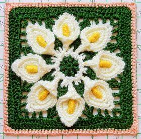 Free crochet pattern - Calla Lily Granny Square