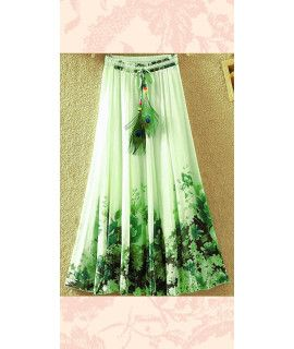Radiant Green And Black Georgette Skirt.