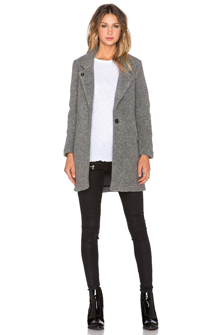 Maison Scotch Tailored Coat in Heather Grey | REVOLVE