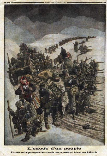 World War I Serbian army protecting convoys of peasants fleeing Serbia for Albania Illustration from French newspaper Le Petit Journal December 26...