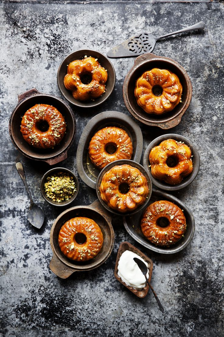 Saffron syrup cakes. Photography www.caitlinmills.com Styling www.kirstybrysonfoodstylist.com Props www.thepropdispensary.com