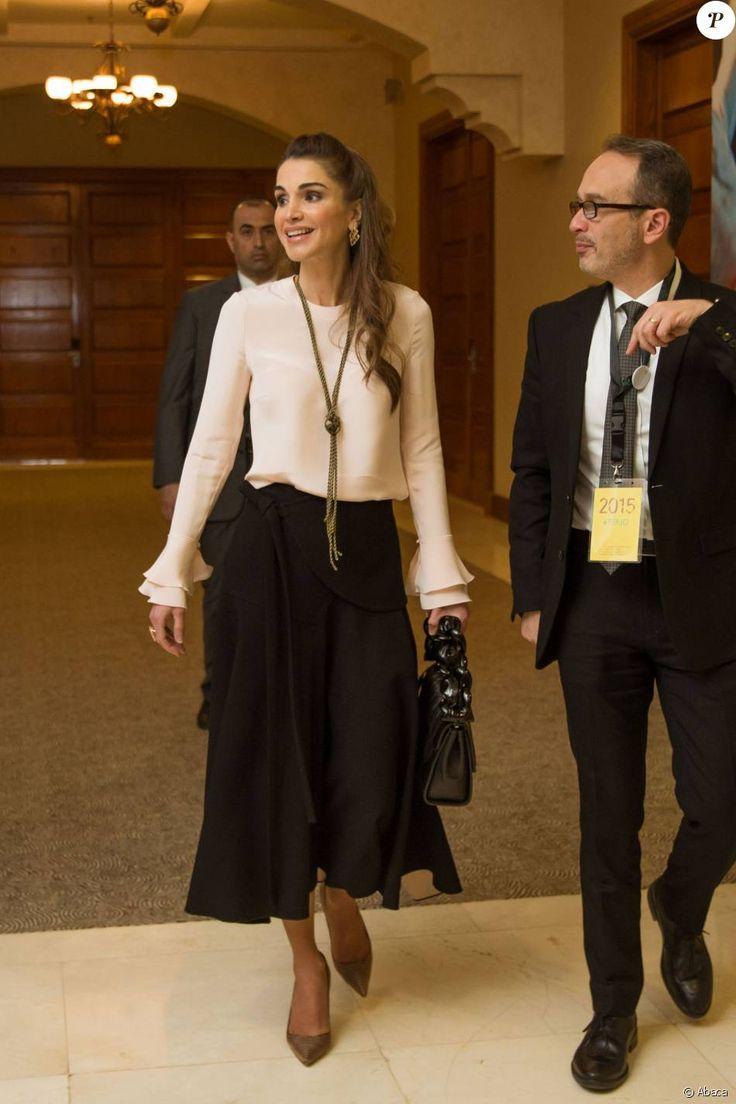 La reine Rania de Jordanie lors du Forum Teacher Skills le 6 décembre 2015.