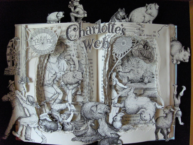Charlotte's Web One of a Kind Book Sculpture by artfuliving. $240.00, via Etsy. Art made from books - this guy has some great stuff on Etsy.
