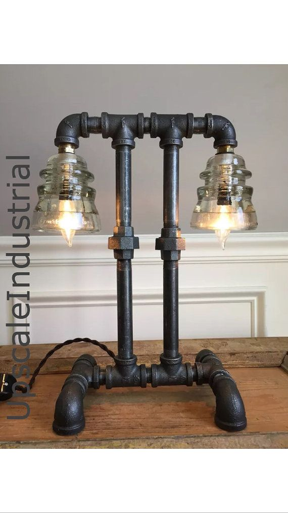 Steampunk Lamp/Machine Age/Iron Pipe Light/Industrial Lighting/Glass Insulator/ Insulator Lighting Bankers Lamp Edison Lamp Lighting
