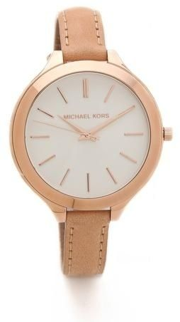 Michael Kors Slim Runway Beige Leather Rose Gold Dial ($105) 42mm case, 12mm band