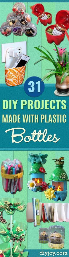 Cool DIY Projects Made With Plastic Bottles - Best Easy Crafts and DIY Ideas Made With A Recycled Plastic Bottle - Jewlery, Home Decor, Planters, Craft Project Tutorials - Cheap Ways to Decorate and Creative DIY Gifts for Christmas Holidays - Fun Projects for Adults, Teens and Kids http://diyjoy.com/diy-projects-plastic-bottles