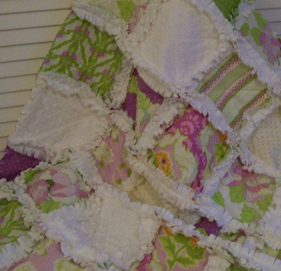 Crib Rag Quilt Purple Lavender Lilac Minky Baby by CottageDome