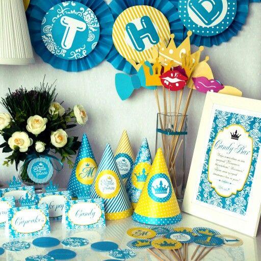 """Атрибуты для празднования дня рождения в стиле """"Little prince"""". Колпачки, гирлянда, топперы, карточки для Candy Bar"""
