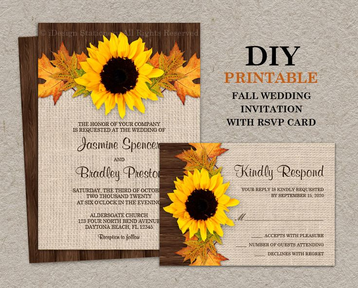 Fall Sunflower Wedding Invitations With RSVP Cards, DIY Printable Fall Leaves Wedding Invitation Sets, Fall Leaves Wedding Invites by iDesignStationery on Etsy https://www.etsy.com/listing/196477766/fall-sunflower-wedding-invitations-with