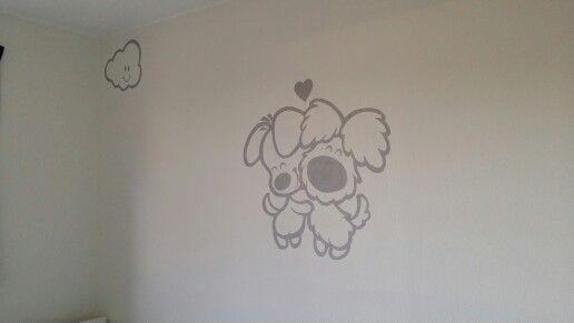 Muurschildering woezel en pip babykamer www.adeliodeco.nl