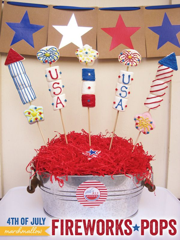 DIY Tutorial: 4th of July Marshmallow Fireworks Pops! Kids would LOVE to decorate these!