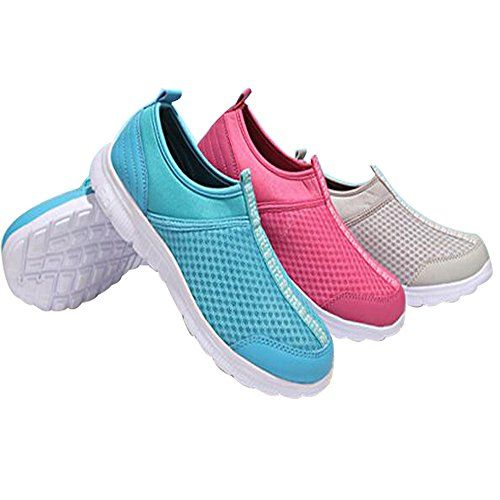 Men Women Breathable Slip On Squash Shoes Women's Walking Shoes Sneakers 7 Red -- Be sure to check out this awesome product.